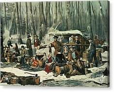 American Forest Scene Acrylic Print by Currier and Ives