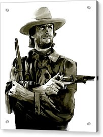 American Outlaw V Clint Eastwood Acrylic Print by Iconic Images Art Gallery David Pucciarelli