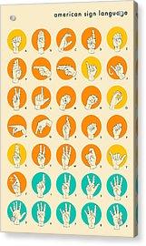 American Sign Language Hand Alphabet Acrylic Print by Jazzberry Blue