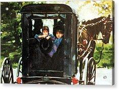 Amish Buggy Acrylic Print by Linda Crockett