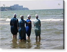 Amish Girls In The Surf Acrylic Print by MB Matthews