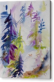 Snow Scenes In Watercolors Acrylic Print featuring the painting Among The Trees by Beverley Harper Tinsley