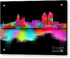 Amsterdam Skyline - Night Art Acrylic Print by Prar Kulasekara