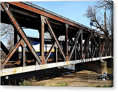 Amtrak California Crossing The Old Sacramento Southern Pacific Train Bridge . 7d11410 Acrylic Print by Wingsdomain Art and Photography