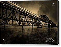 Amtrak Midnight Express 5d18829 Sepia Acrylic Print by Wingsdomain Art and Photography