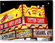 Amusement Park Concession Stand Food Sign Acrylic Print by Paul Velgos