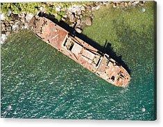 An Abandoned Cargo Ship On Nosy Mangabe Acrylic Print by Michael Fay