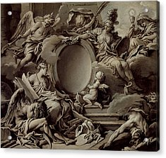 An Allegory Of Minerva Fame History And Faith Overcoming Ignorance And Time Acrylic Print by Francois Boucher