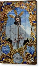 An Azulejo Ceramic Tilework Depicting Jesus Christ Acrylic Print by Sami Sarkis
