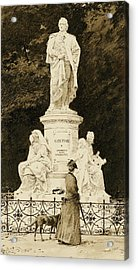 An Elegant Lady At The Statue Of Goethe Acrylic Print by Paul Fischer
