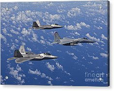 An F-15 Eagle And Two F-22 Raptors Fly Acrylic Print by HIGH-G Productions