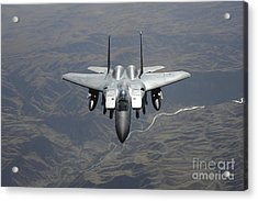 An F-15e Strike Eagle Flies Watch Acrylic Print by Stocktrek Images