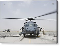 An Hh-60 Pave Hawk Lands After A Flight Acrylic Print by Stocktrek Images