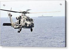 An Mh-60r Seahawk Helicopter In Flight Acrylic Print by Stocktrek Images