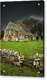 An Old Church Under A Dark Sky Acrylic Print by John Short