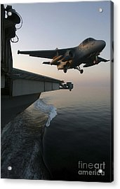 An S-3b Viking Clears The Flight Deck Acrylic Print by Stocktrek Images