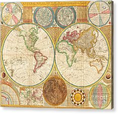 Ancient Map World In Hemispheres Acrylic Print by Pg Reproductions