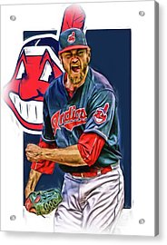 Andrew Miller Cleveland Indians Oil Art Acrylic Print by Joe Hamilton
