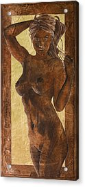 Angel In Gold Acrylic Print by Richard Hoedl