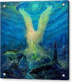 Angel Tarot Card Mermaid Angel Acrylic Print by Steve Roberts