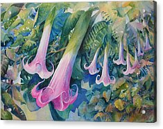 Angels Trumpets I Acrylic Print by Marilyn Young
