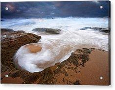 Angry Sea Acrylic Print by Mike  Dawson