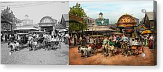 Animal - Goats - Coney Island Ny - Kid Rides 1904 Side By Side Acrylic Print by Mike Savad