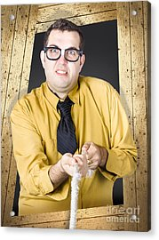 Annoying Sales Man Roping In Customers Acrylic Print by Jorgo Photography - Wall Art Gallery
