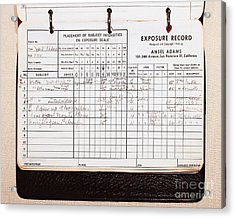 Ansel Adams Photography Exposure Record Log Acrylic Print by Wingsdomain Art and Photography