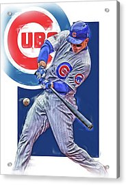 Anthony Rizzo Chicago Cubs Oil Art Acrylic Print by Joe Hamilton