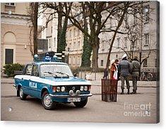 Antique Blue Militia Car View Acrylic Print by Arletta Cwalina