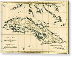 Antique Map Of Cuba Acrylic Print by Guillaume Raynal