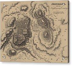 Antique Map Of Jerusalem Acrylic Print by English School