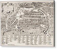 Antique Map Of Naples Acrylic Print by Italian School