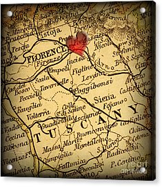 Antique Map With A Heart Over The City Of Florence In Italy Acrylic Print by ELITE IMAGE photography By Chad McDermott