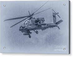 Apache Helicopter In Blue Acrylic Print by Randy Steele