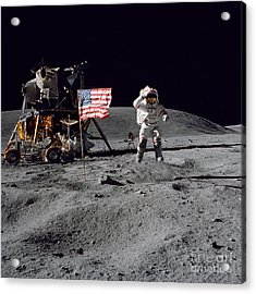 Apollo 16 Astronaut Leaps Acrylic Print by Stocktrek Images