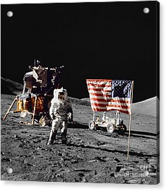 Apollo 17 Astronaut Stands Acrylic Print by Stocktrek Images