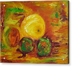Apples And Grapefruit Acrylic Print by Peter Silkov