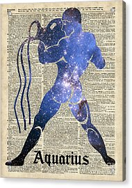 Aquarius The Water-bearer - Zodiac Sign Acrylic Print by Jacob Kuch