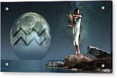 Aquarius Zodiac Symbol Acrylic Print by Daniel Eskridge