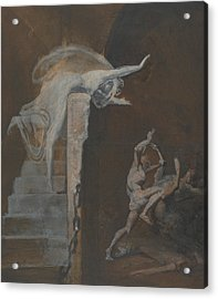 Ariadne Watching The Struggle Of Theseus With The Minotaur Acrylic Print by Henry Fuseli