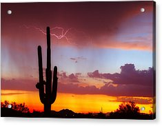 Arizona Lightning Sunset Acrylic Print by James BO  Insogna