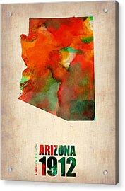Arizona Watercolor Map Acrylic Print by Naxart Studio