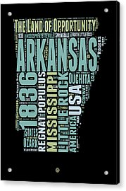 Arkansas Word Cloud 1 Acrylic Print by Naxart Studio