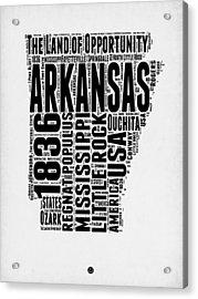 Arkansas Word Cloud 2 Acrylic Print by Naxart Studio