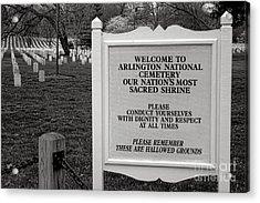 Arlington Cemetery Sign Acrylic Print by Olivier Le Queinec