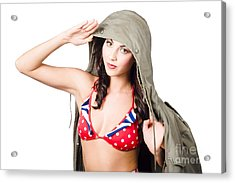 Army Pinup Saluting Retro Fashion In 1940 Style Acrylic Print by Jorgo Photography - Wall Art Gallery