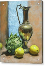 Artichoke And Lemons Acrylic Print by Anna Rose Bain