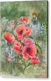 Artist In The Garden Acrylic Print by B Rossitto